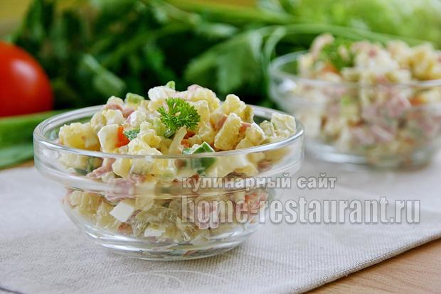 салат оливье рецепт классический с колбасой и огурцами