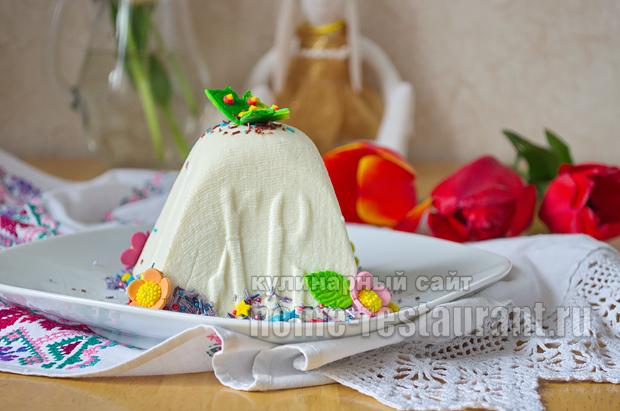 Творожная пасха со сгущенкой и белым шоколадом