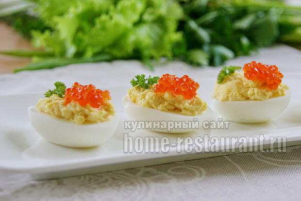 Яйца фаршированные тунцом и сыром рецепт
