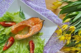 Красная рыба в духовке в имбирно чесночном маринаде_11