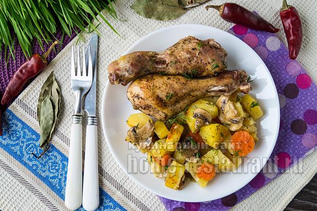 Куриные ножки в духовке с картошкой рецепт с фото _08