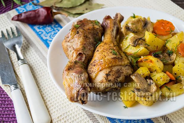 Куриные ножки в духовке с картошкой рецепт с фото _10