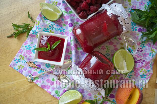 Варенье из персиков- рецепт с малиной и лаймом_14