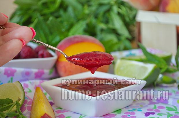 Варенье из персиков- рецепт с малиной и лаймом_16