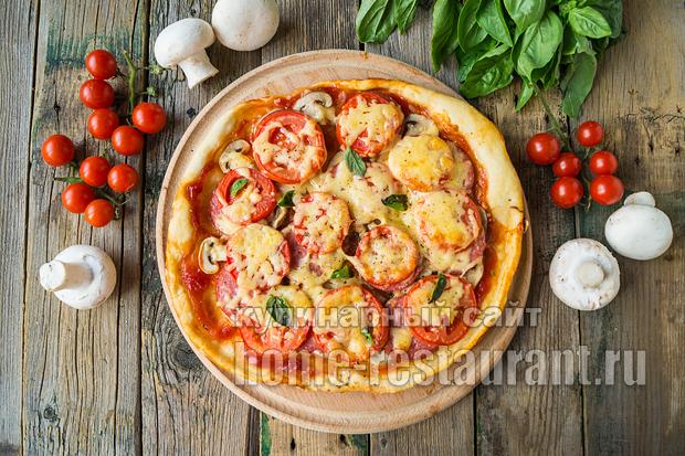 Пицца на слоеном тесте в духовке фото_07