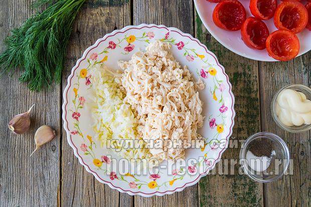 Помидоры фаршированные сыром и курицей_6