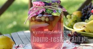 Компот из груш на зиму с виноградом фото_5