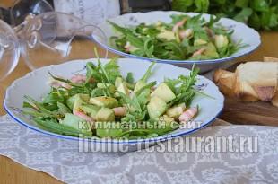 Салат с рукколой креветками и авокадо фото_7