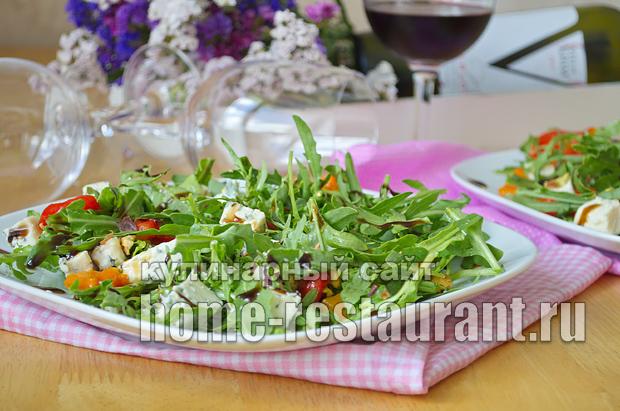 Салат с руколой, голубым сыром и запеченным перцем_8