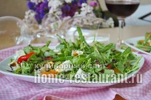 Салат с руколой, голубым сыром и запеченным перцем_9