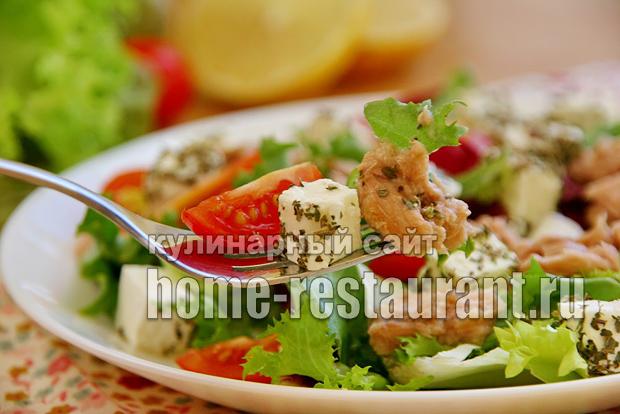 легкий салат с тунцом консервированным рецепт с пошаговым