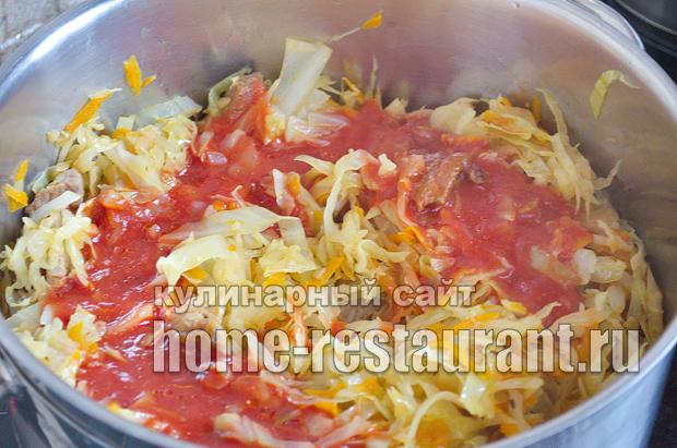 Тушеная капуста с мясом рецепт _08