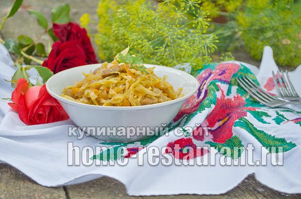 Тушеная капуста с мясом рецепт _13