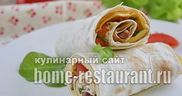 Ролл с лососем в лаваше. Тортилья с рыбой и творожным сыром
