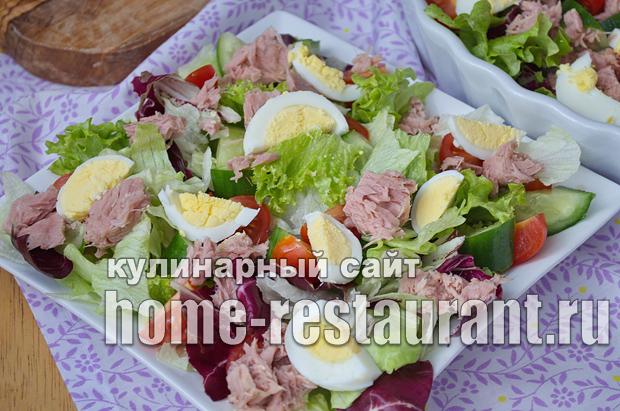 Рецепт салата из тунца и огурцами