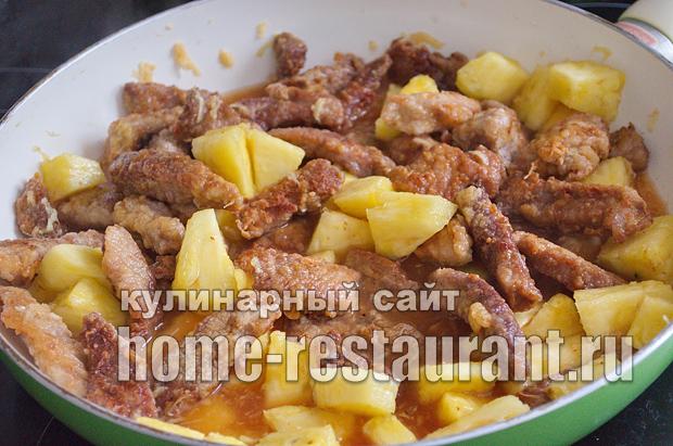 Свинина с ананасами в кисло сладком соусе_13