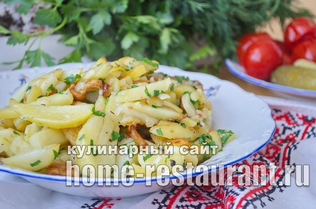 Жареная картошка с лисичками рецепт с фото_10