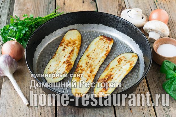 Рулеты из баклажанов с грибами и сыром