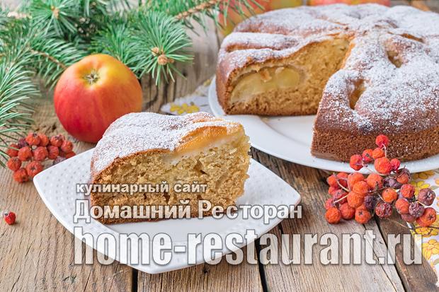Пирог с яблоками на кефире фото