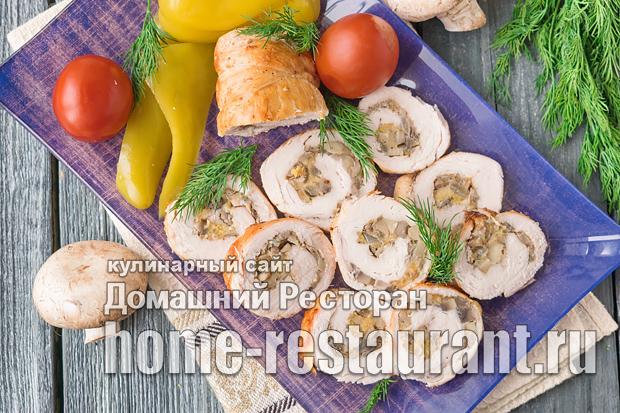Куриный рулет с грибами и сыром фото 2