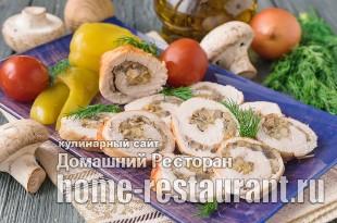 Куриный рулет с грибами и сыром фото 3