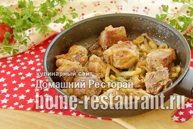 Шашлык на сковороде из свинины фото_8